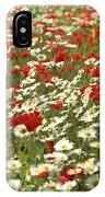Field Of Poppies And Daisies In Limagne  Auvergne. France IPhone Case