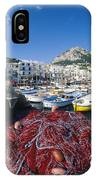 Fishing Boats And Nets In The Marina IPhone Case