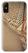 Footprints On The Beach Along A Fence IPhone Case