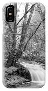 Forest Creek Waterfall In Black And White IPhone Case