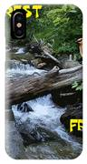 Forest Friends Sharing A Log Over A Creek On Mt Spokane IPhone Case