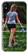 Girl Walking Dog IPhone Case