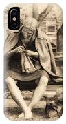 Granny Sitting On A Bench Knitting Ursinus College IPhone Case