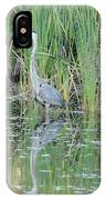 Great Blue Heron With Reflection IPhone Case