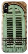 Green Shutters And Balcony In Verona IPhone Case