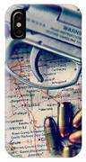 Gun And Bullets On Map IPhone Case