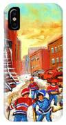 Hockey Art Kids Playing Street Hockey Montreal City Scene IPhone Case