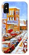 Hockey Art Streets Of Montreal Hockey Paintings IPhone Case