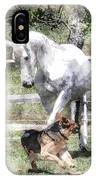 Horse And Dog Play IPhone Case
