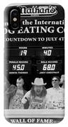 Hotdog Eating Contest Time In Black And White IPhone Case