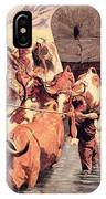 Indians Attacking A Pioneer Wagon Train IPhone Case