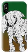 Inked Elephant In Green And Brown IPhone Case