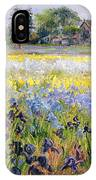 Irises And Two Fir Trees IPhone Case