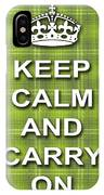 Keep Calm And Carry On Poster Print Green Plaid Background IPhone Case