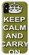 Keep Calm And Carry On Poster Print Olive Background IPhone Case