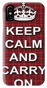 Keep Calm And Carry On Poster Print Red Black Stripes Background IPhone Case