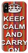 Keep Calm And Carry On Poster Print Red Purple Stripe Background IPhone Case