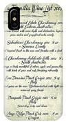 La Familia Wine List 2003 Canvas Art IPhone Case