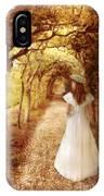 Lady Walking In Tree Tunnel In Garden IPhone Case