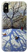 Large Tree And Tobogganers IPhone Case