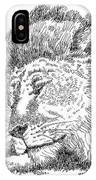Lion-art-black-white IPhone Case