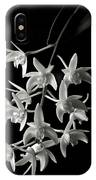 Little White Orchids In Black And White IPhone Case