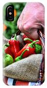 Man Bringing A Basket Of Red And Green Peperoni IPhone Case