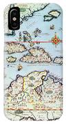 Map Of The Caribbean Islands And The American State Of Florida IPhone Case