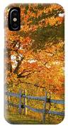 Maple Trees And A Rail Fence In Autumn IPhone Case