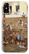 Men And Boys Bathe At An Ancient Ghat IPhone Case