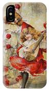 Merry Making Antique Girls In Red And White Grunge IPhone Case