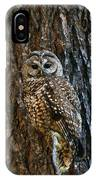 Mexican Spotted Owl Camouflaged Against IPhone Case