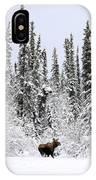 Moose In Deep Snow, Near Teslin, Yukon IPhone Case