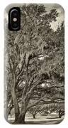 Moss-draped Live Oaks Sepia Toned IPhone Case