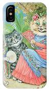 Mother Cat With Fan And Two Kittens IPhone Case