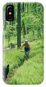 Mountain Biker And Dog On Single Track IPhone Case