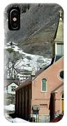 Mountain Chapel With Red Steps IPhone Case by Lorraine Devon Wilke