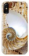 Nautilus Shell On Rusty Table IPhone Case