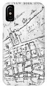 New York Map, 1730 IPhone Case