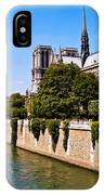 Notre Dame Cathedral Along The Seine River IPhone Case