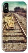 Old Chair On Railroad Tracks IPhone Case
