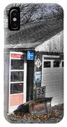 Old Gas Station Signs And A Soon To Be Outdated Phone Booth IPhone Case