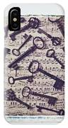 Old Keys On Sheet Music IPhone Case
