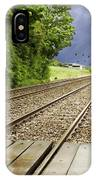Old Man Walks Along Train Tracks IPhone Case