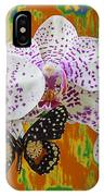 Orchids With Speckled Butterfly IPhone Case