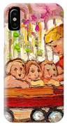 Paintings For Children - Boy - Girl - Red Wagon And Puppies IPhone Case