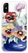 Pansies In Blue Pot IPhone Case
