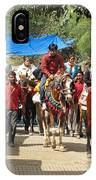 People On Horseback And On Foot Making The Climb To The Vaishno Devi Shrine In India IPhone Case