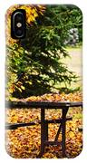 Picnic Table With Autumn Leaves IPhone Case