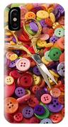 Pile Of Buttons With Scissors  IPhone Case